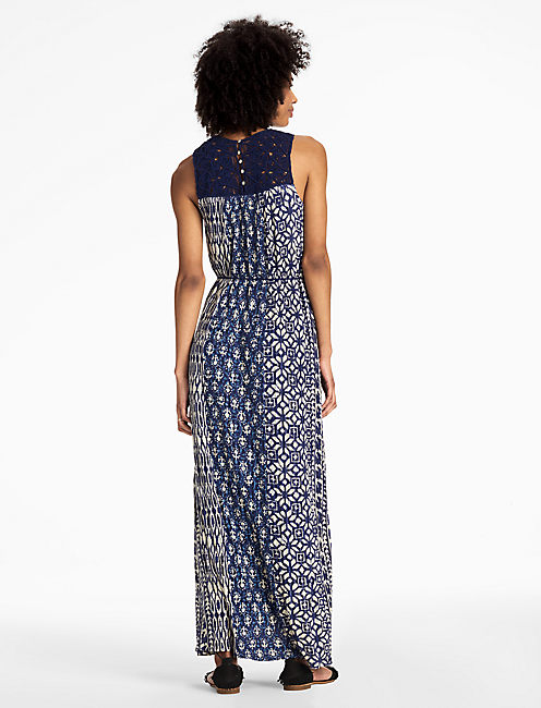 MACRAME YOKE DRESS, BLUE MULTI