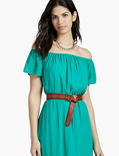 OFF THE SHOULDER MAXI DRESS, GREEN MULTI