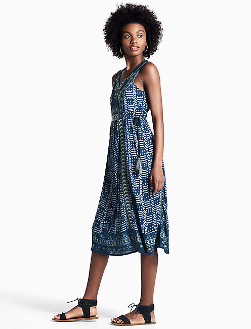 EMBROIDERED PRINTED DRESS, BLUE MULTI