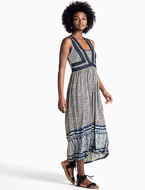 CROCHET KNIT DRESS, NAVY MULTI
