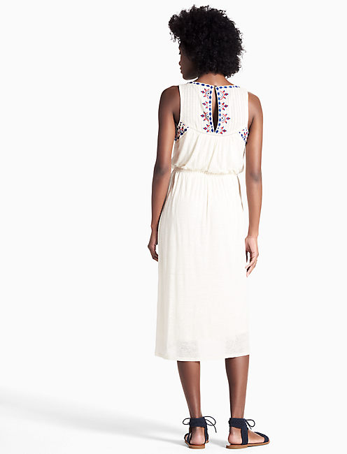 EMBROIDERED KNIT DRESS,