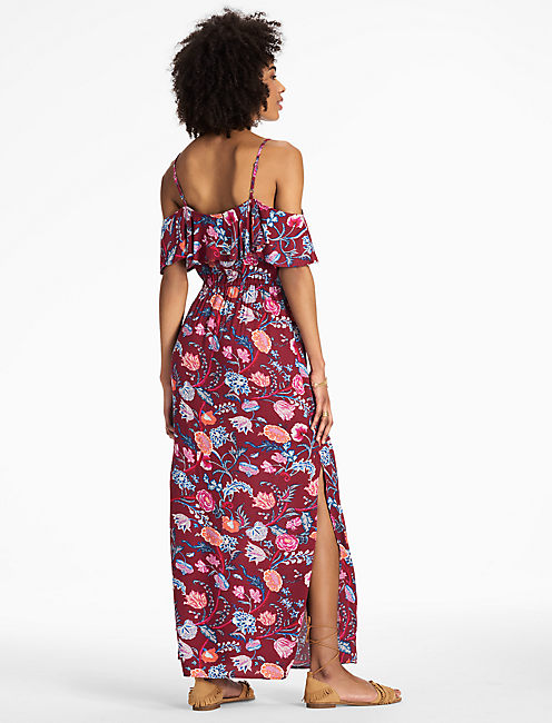 FLORAL MAXI DRESS, RED MULTI
