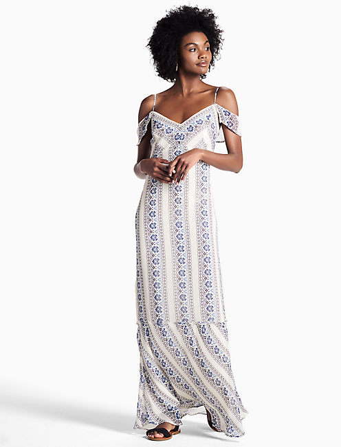 Lucky Floral Stripe Maxi Dress