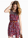RED MIXED PRINT DRESS, RED MULTI