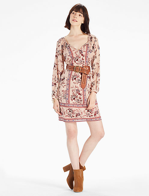 PEASANT DRESS, NATURAL MULTI