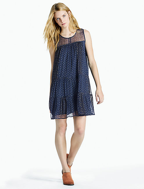 YOKE BORDER DRESS, NAVY MULTI