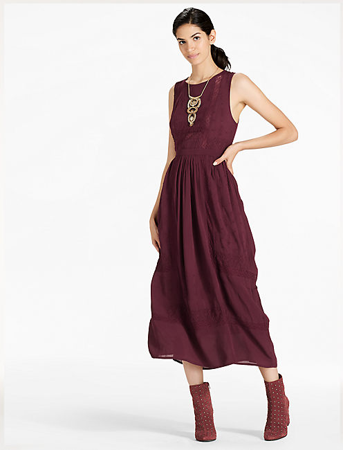 EMBROIDERED DRESS, port royale