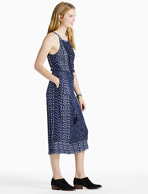 PRINTED KNIT DRESS, BLUE MULTI