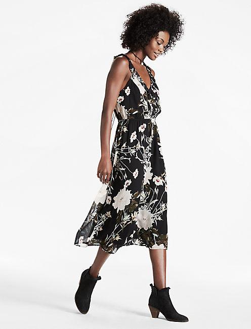 RUFFLE DRESS, BLACK MULTI