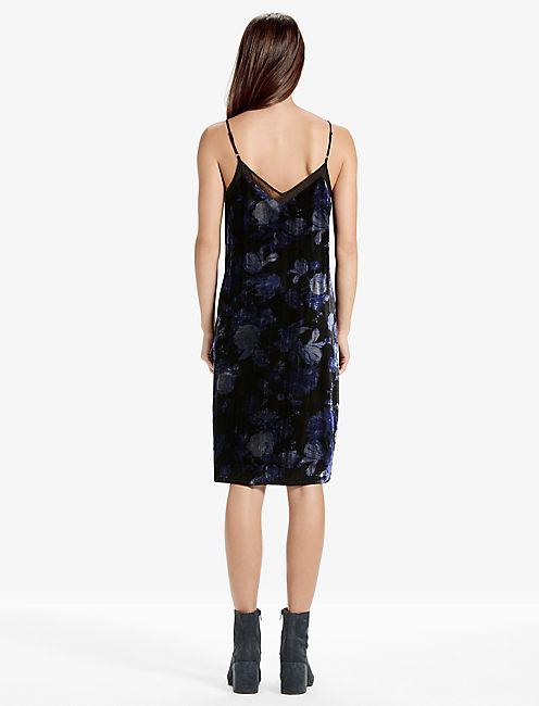 FLORAL VELVET DRESS, BLACK MULTI