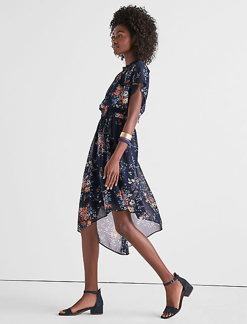 GARDEN ASYMMETRICAL DRESS, NAVY MULTI