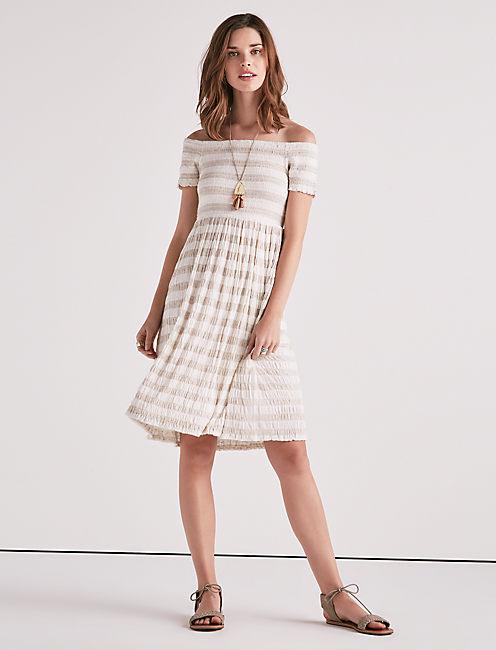 STRIPE SMOCKED DRESS,