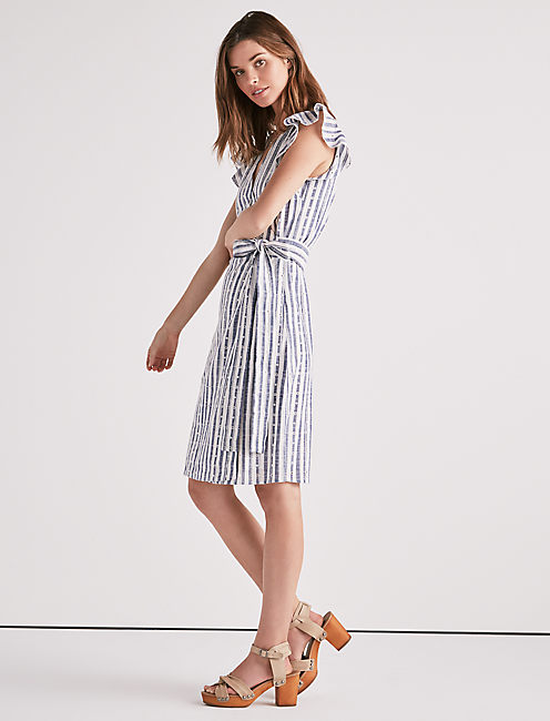Lucky Eyelet Stripe Wrap Dress