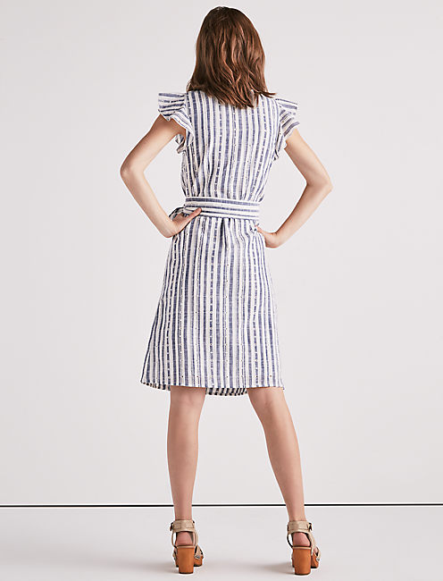 EYELET STRIPE WRAP DRESS,