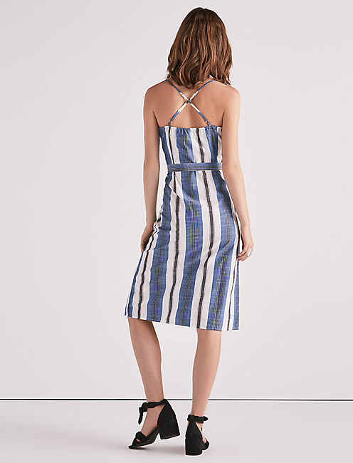 STRIPE BUTTON FRONT DRESS,