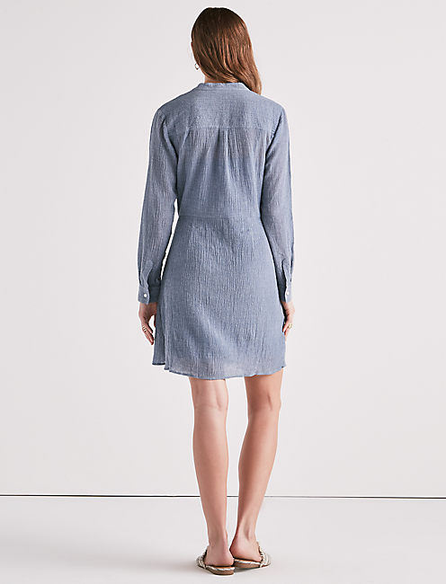 CHAMBRAY TIE WAIST DRESS,