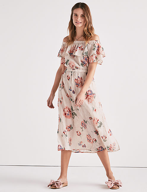 OFF SHOULDER PRINTED DRESS,