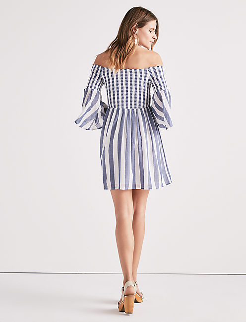 STRIPED SMOCKED DRESS,