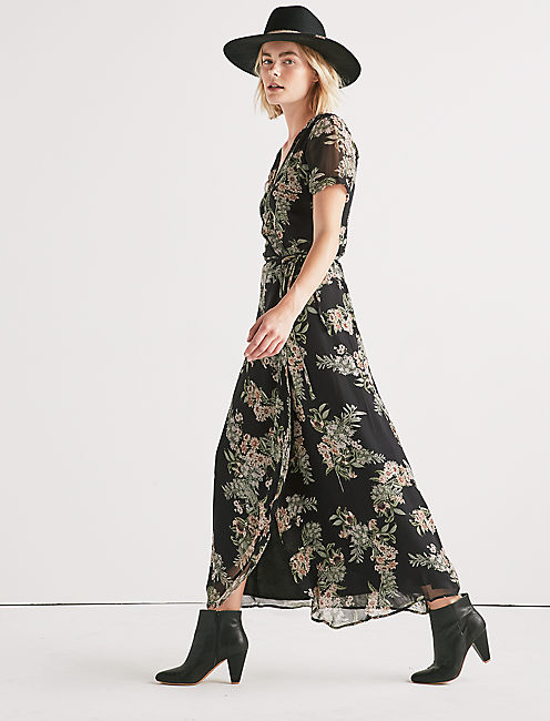 Lucky Floral Maxi Wrap Dress