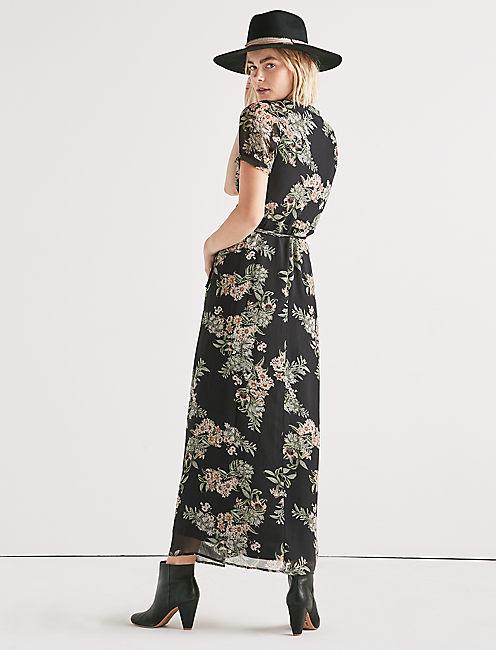 FLORAL MAXI WRAP DRESS,