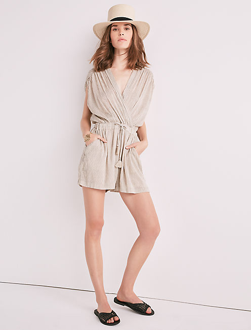 STRIPE WRAP ROMPER,
