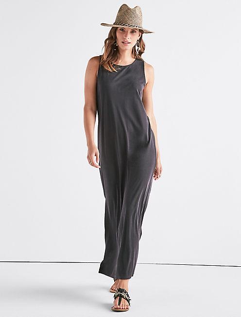 RIBBED SANDWASH DRESS,