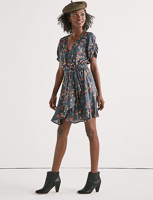 Lucky Printed Floral Wrap Dress
