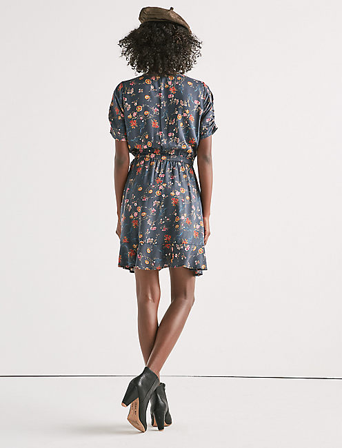 PRINTED FLORAL WRAP DRESS,