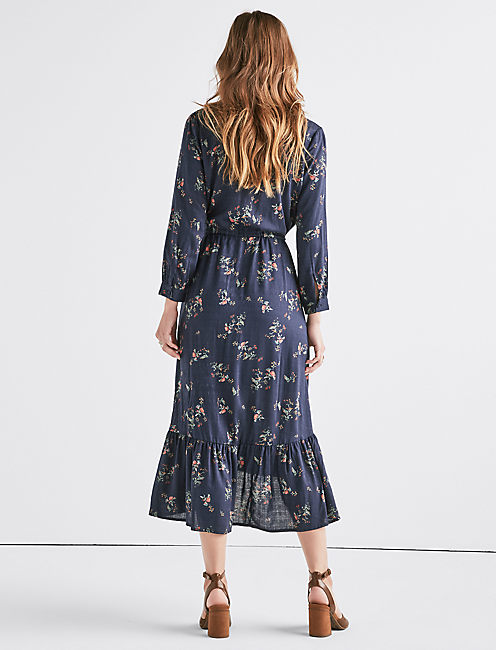 PRINTED PUFF SLEEVE DRESS,
