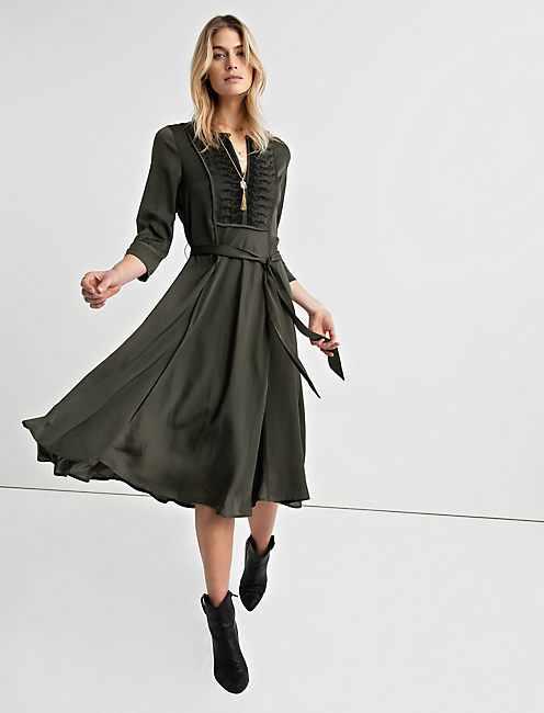 EMBROIDERED SATIN DRESS,