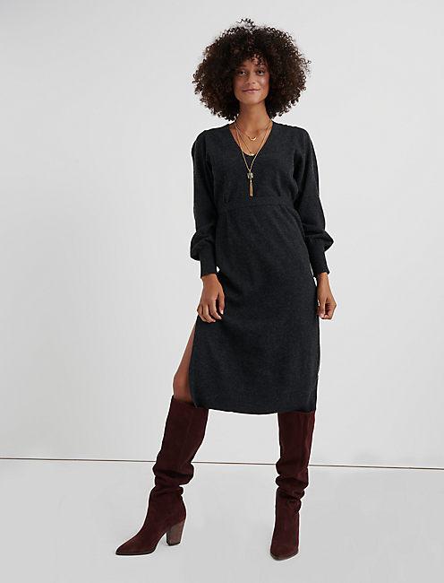 V NECK SWEATER DRESS,