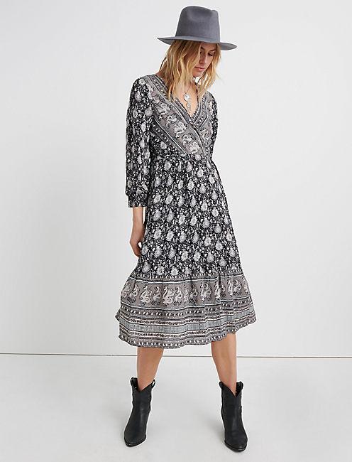 PAISLEY BORDER PRINT WRAP DRESS, BLACK MULTI