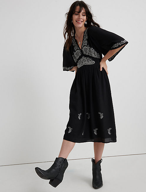 EMBROIDERED FLUTTER SLEEVE DRESS, 001 LUCKY BLACK