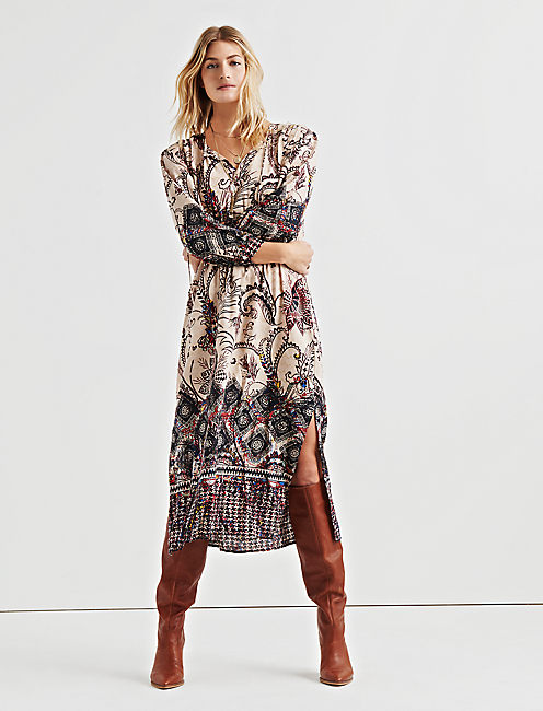 LISA BORDER PRINT DRESS,