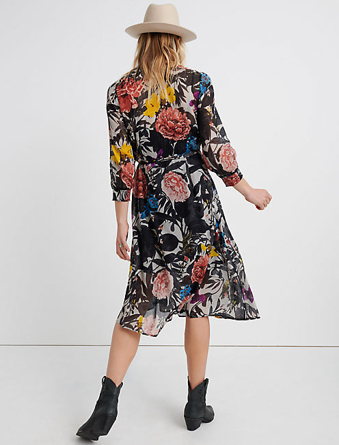 ABSTRACT FLORAL WRAP DRESS., MULTI