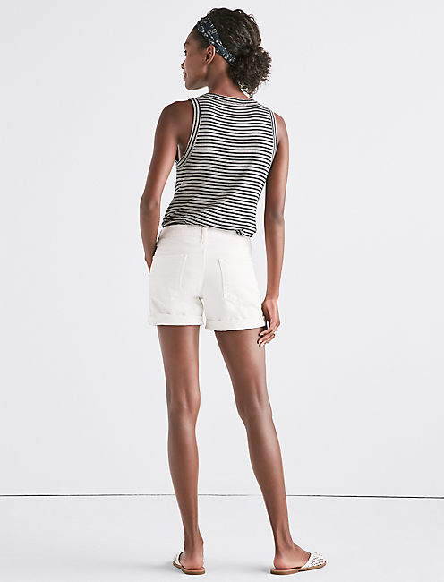 THE ROLL UP JEAN SHORT IN CLEAN WHITE,