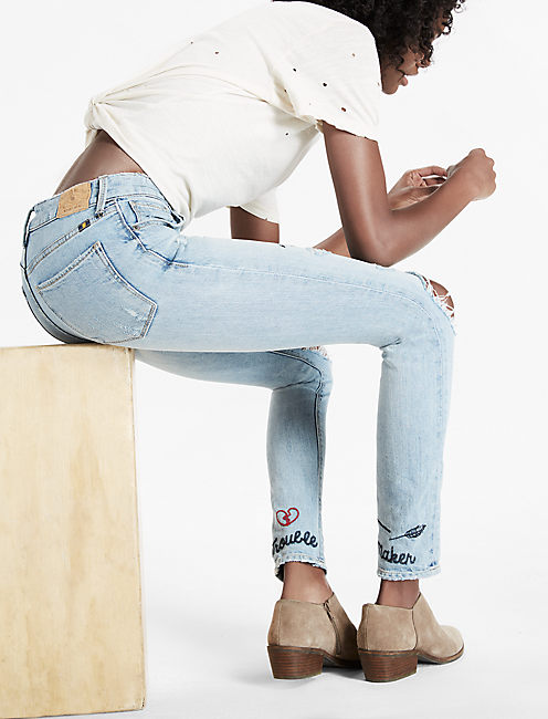 BRIDGETTE HIGH RISE SKINNY JEAN WITH EMBROIDERY,