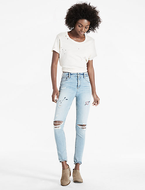 Lucky Bridgette High Rise Skinny Jean With Embroidery