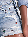 BOYFRIEND DENIM SHORT WITH EMBROIDERY,
