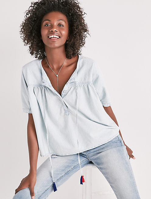 SHIRRED BUTTON FRONT CHAMBRAY SHIRT,