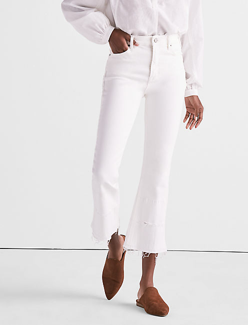 BRIDGETTE CROPPED BOOT JEAN IN CLEAN WHITE WITH RELEASED HEM,