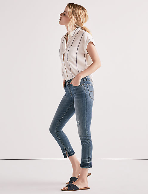 Lucky Lolita Mid Rise Crop Jean With Slit