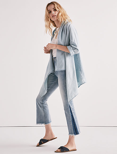 Lucky Knotted & Draped Chambray Top