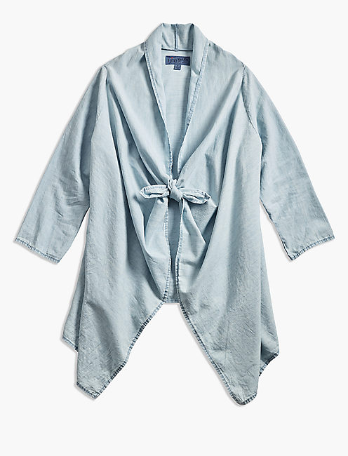 KNOTTED & DRAPED CHAMBRAY TOP,
