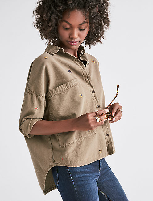 OVERSIZED EMBROIDERED POCKET SHIRT,