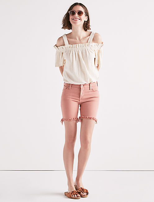 Lucky Ava Mid Rise Jean Short In Washed Rose