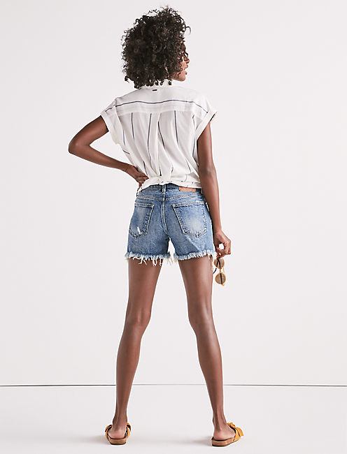 HIGH RISE TOMBOY CUT OFF JEAN SHORT IN HARTLEY FRAY,