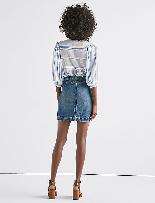 Denim A Line Skirt,