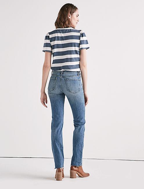 Remade Ava Mid Rise Slim Straight Jean,