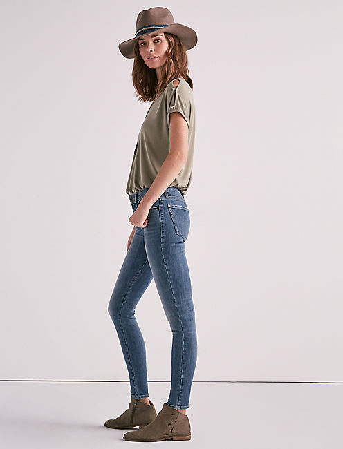 Lucky Ava Mid Rise Super Skinny Jean In Rye